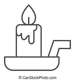 Candle on a candlestick thin line icon. Burning fire and wax stick on plate. Halloween party vector design concept, outline style pictogram on white background.