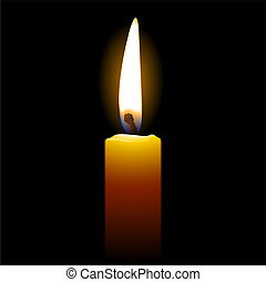Vector illustration of a candle isolated on black background. Detailed portrayal.