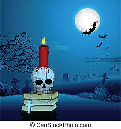Candle on Skull in Halloween Night - illustrartion of...