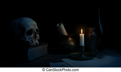 Candle On Table In Historic Setting