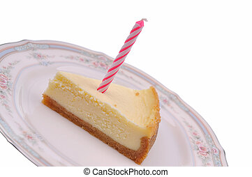candle on the cheesecake