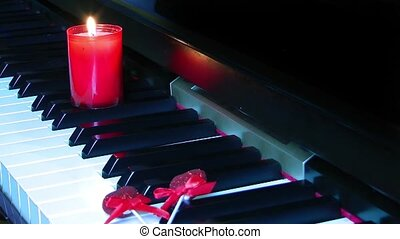 Candle on the piano key