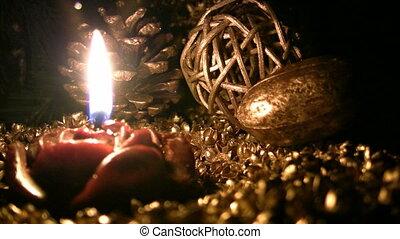 One candle burning