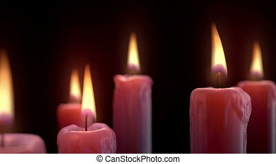 Candle Pan - 1080p HD Stock Video of red candles in a dark...