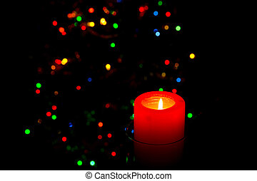 Candle - Christmas candle on the background the Christmas...