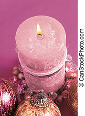 Candle (pink hues) - Candle and decoration, pink hues