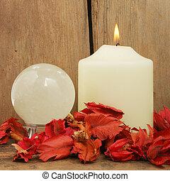 Candle pot-pouri and crystal ball