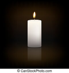 Candle. - Realistic 3d white candle on a dark background...