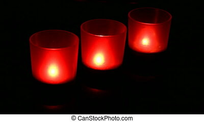 Red candles burning