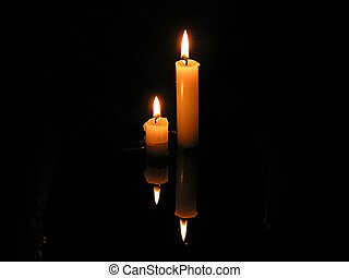 candle reflection - candle reflecting in the water