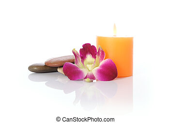 Candle, River Stones and Orchid