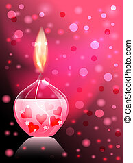 candle romance - beautiful glass candle on pink background...
