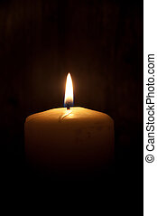 Candle - Single lit candle in the dark (also space for text)