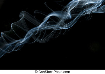 candle smoke odor on a black background