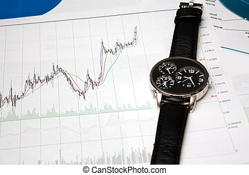 candle stick chart and watch