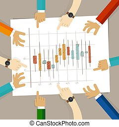 candle stick chart hand drawing sketch analysis. team member together working discuss in a meeting hands pointing to paper