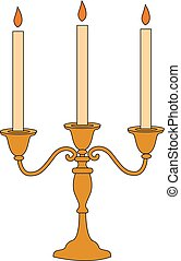 Candle stick, illustration, vector on white background.