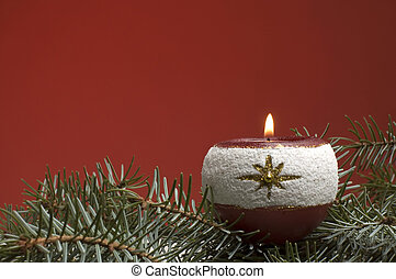 candle on red background close up shoot