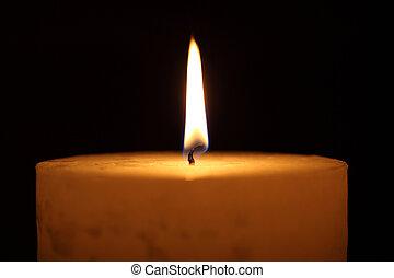 candle burning on a black background