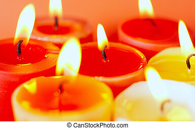 Candle - seven candles. Burning fire
