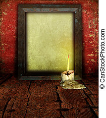 Candle Stubb and Empty Picture Frame on rustic moody...
