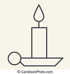 Candle thin line icon. Holiday candlestick on holder outline style pictogram on white background. New Year or Christmas candle for mobile concept and web design. Vector graphics.