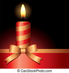 candle - red candle with gold ribbon on black background