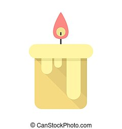 Candle vector illustration, flat style design.
