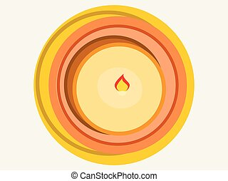Candle view from above, wax. Flat style. Vector illustration