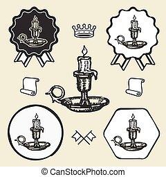 Candle vintage symbol emblem label collection