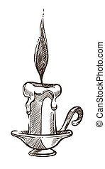 Candle with burning flame and melting wax monochrome sketch outline