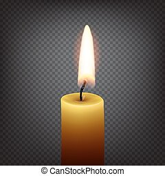 Candle with fire isolated on transparent background. Vector realistic illustration.