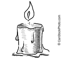 Candle with fire on white background sketch vector ...