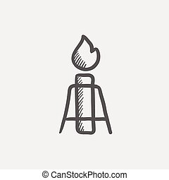 Candle with holder sketch icon