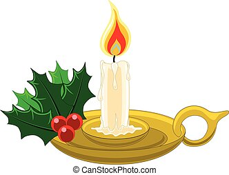 Christmas candle in gold holder with holly, berries and mistletoe