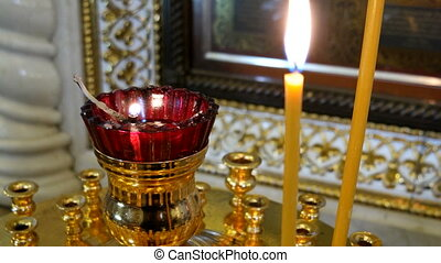 Candleholder. Details in the Orthodox Christian Church. Russia.
