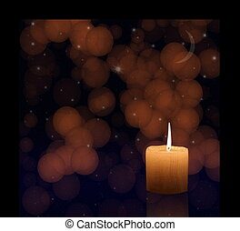 Candlelight in window on abstract night stars and moon sky ...