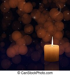 Candlelight on nigh sky background - Candlelight on abstract...