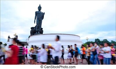 Candlelight Procession on Asanha Bucha Day ,August 3 ,2012 in Nakhonpathom Thailand.