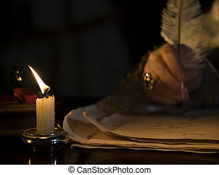Candlelight & Quill - A little candlelit detail image showin...