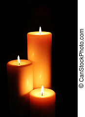 Candlelight - Soft-glowing candles light the darkness.