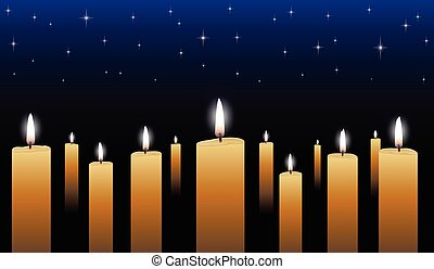 Candlelight Vigil is an illustration of many glowing candles...