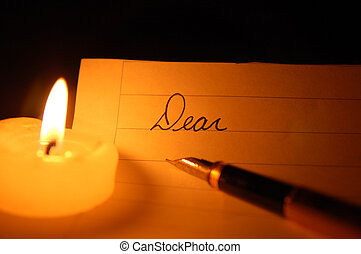 """Candlelit Dear, - A \\\""""Dear\\\"""" greeting to be written by..."""