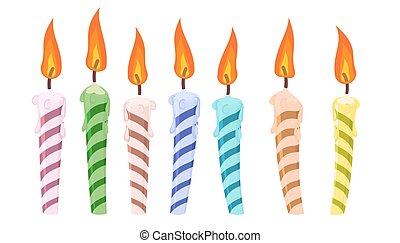 candles., 생일, 세트, 다채로운