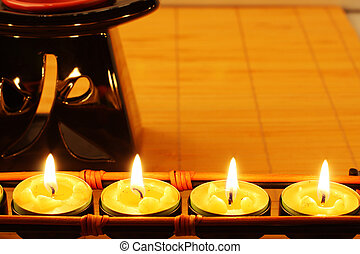 Candles and aromatherapy lamp