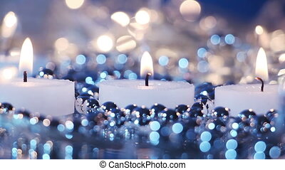 candles and blinking christmas lights seamless loop