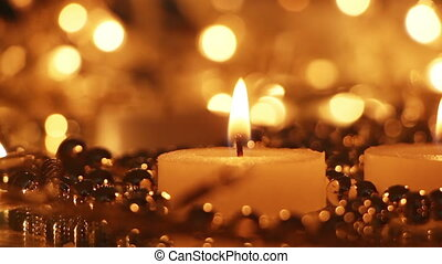 candles and christmas lights panning