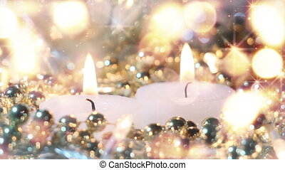 candles and christmas stars loopable background
