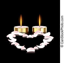 candles and heart - black background and two burning candles...