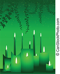 Green background of candles and ivy for Christmas